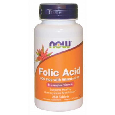 Ácido Fólico 800mcg c/ Vitamina B-12 | 250 Tabls. - Now
