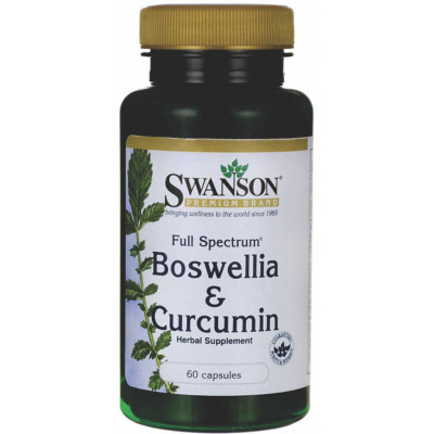 Boswellia & Curcumina 300mg - Swanson - 60 caps.