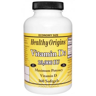 Vitamina D3 10.000 ui 360 Softgels - marca Healthy Origins