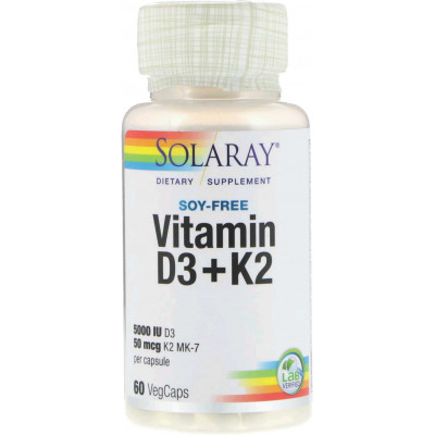 Vitamina D3 + K2 (MK-7) - 60 softgels - Solaray